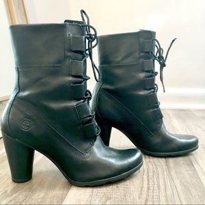 Shoes - Genuine Leather Lace Up Black Ankle Boots